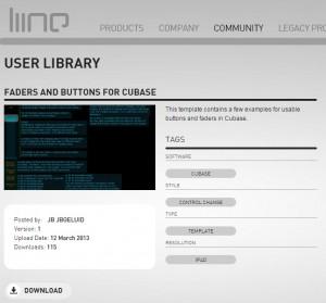 Lemur website buttons for cubase